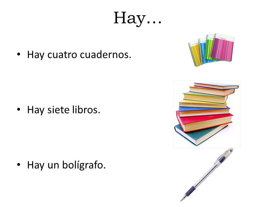Hay… Hay cuatro cuadernos. Hay siete libros. Hay un bolígrafo.