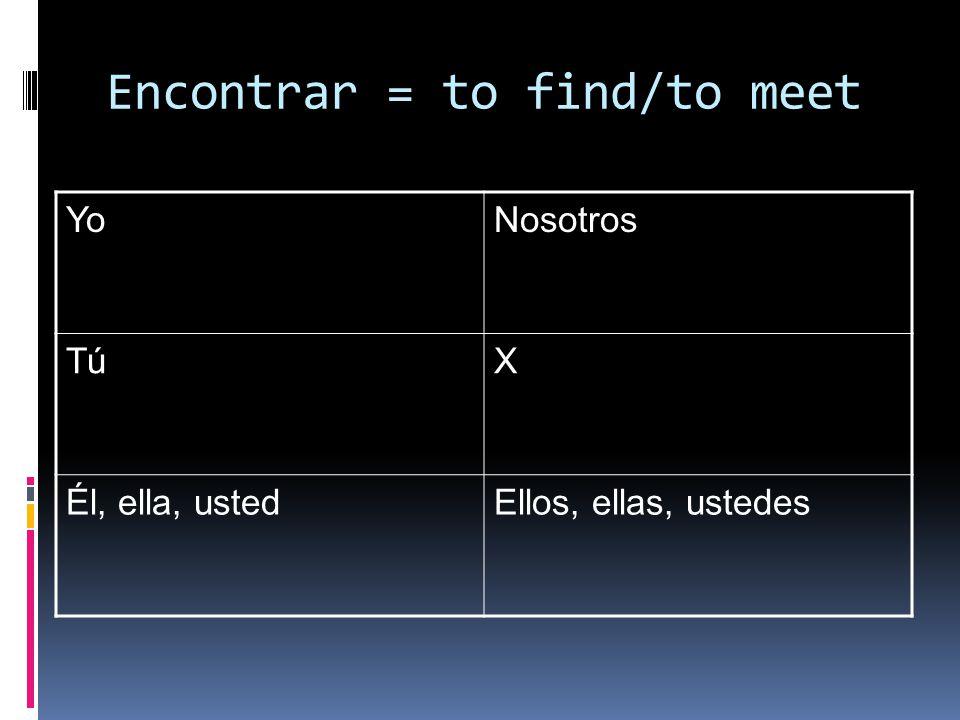 Encontrar = to find/to meet YoNosotros TúX Él, ella, ustedEllos, ellas, ustedes