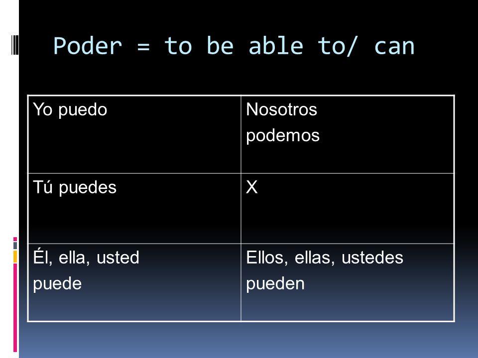 Poder = to be able to/ can Yo puedoNosotros podemos Tú puedesX Él, ella, usted puede Ellos, ellas, ustedes pueden
