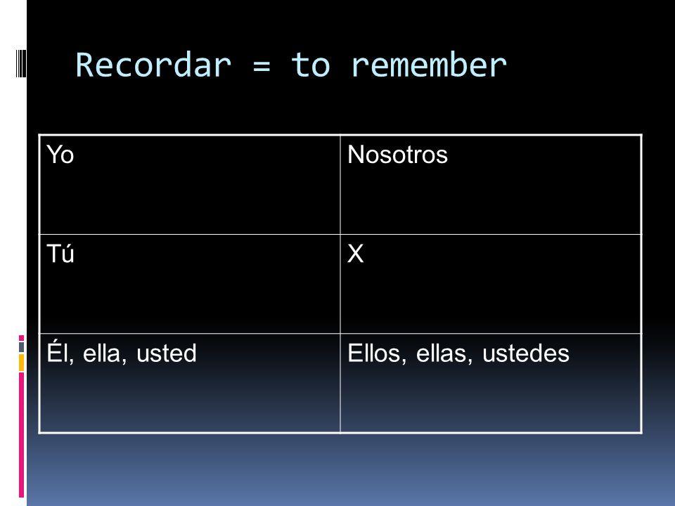 Recordar = to remember YoNosotros TúX Él, ella, ustedEllos, ellas, ustedes