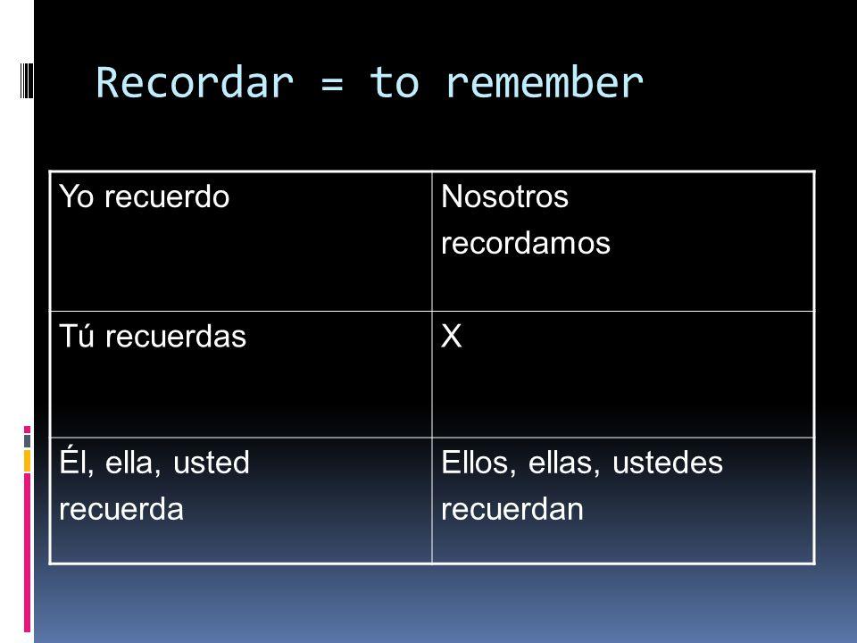 Recordar = to remember Yo recuerdoNosotros recordamos Tú recuerdasX Él, ella, usted recuerda Ellos, ellas, ustedes recuerdan