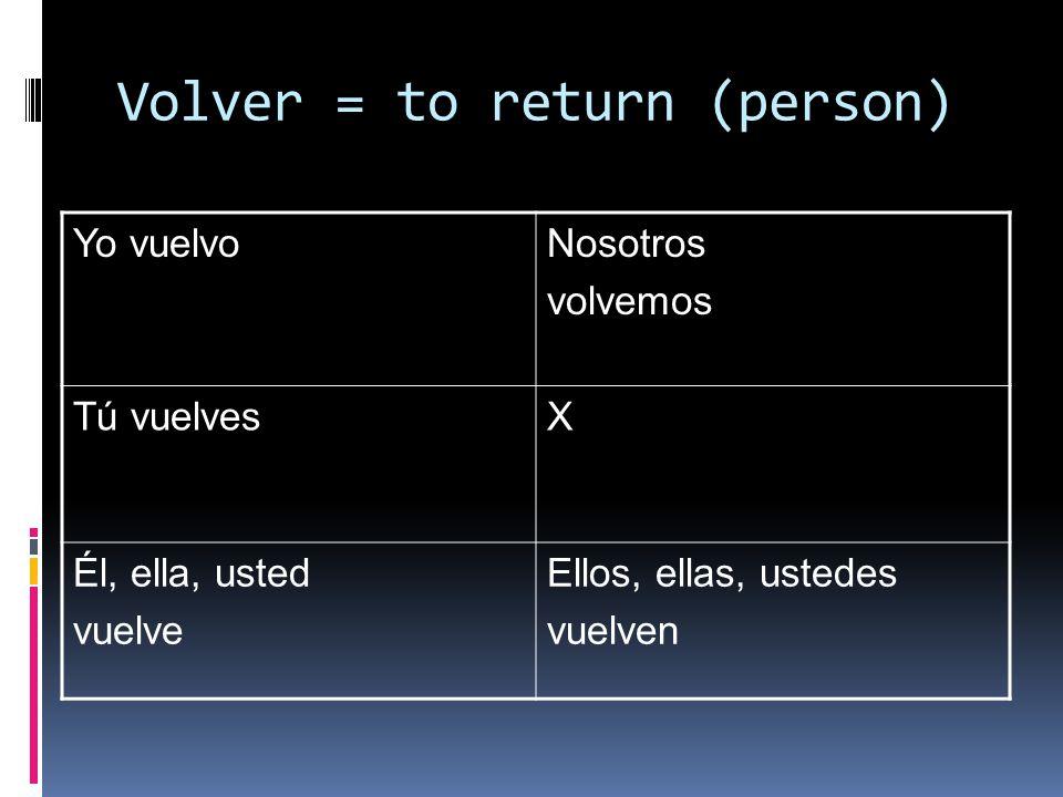 Volver = to return (person) Yo vuelvoNosotros volvemos Tú vuelvesX Él, ella, usted vuelve Ellos, ellas, ustedes vuelven