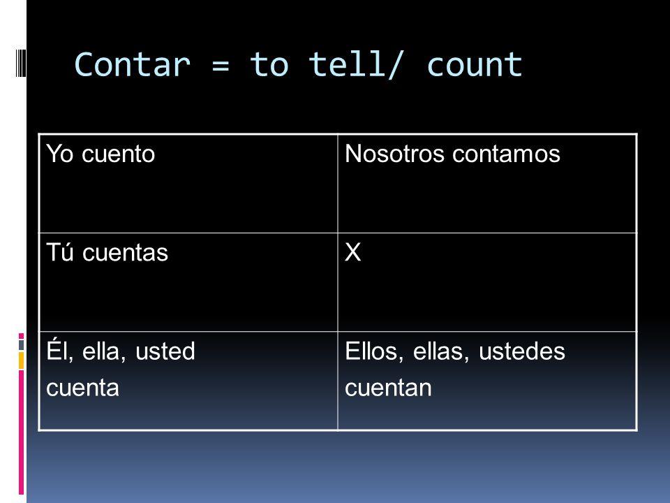 Contar = to tell/ count Yo cuentoNosotros contamos Tú cuentasX Él, ella, usted cuenta Ellos, ellas, ustedes cuentan