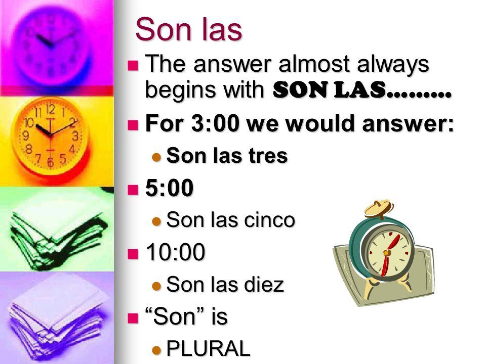 Son las dos. 12 1 2 3 4 5 6 7 8 9 10 11 ¿Qué hora es.