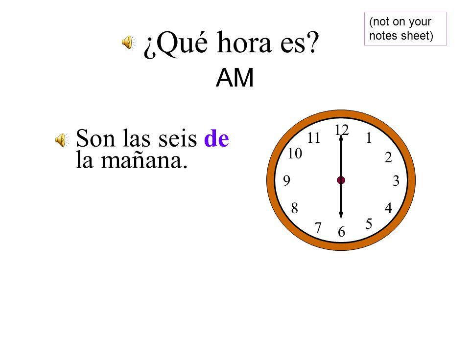 Son las cinco y cuarto de la mañana. 12 1 2 3 4 5 6 7 8 9 10 11 ¿Qué hora es.