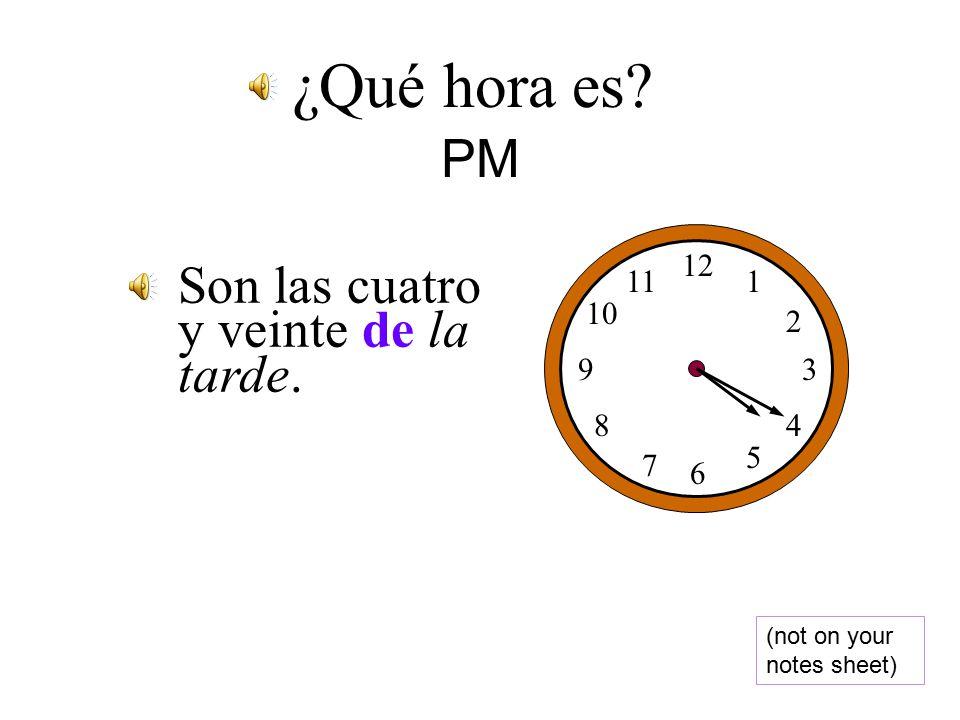 Expressing PM time ¿Qué hora es. Son las dos de la tarde.