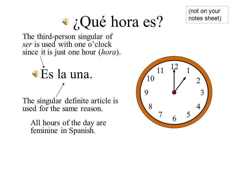 ¿Qué hora es. If la hora means If la hora means The HOUR The HOUR Then Qué hora es.