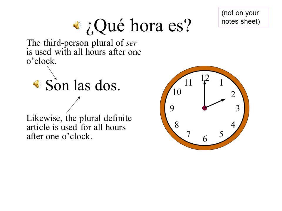 12 1 2 3 5 6 7 8 9 10 11 4 Es la una. ¿Qué hora es.