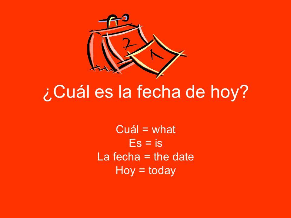 ¿Cuál es la fecha de hoy Cuál = what Es = is La fecha = the date Hoy = today
