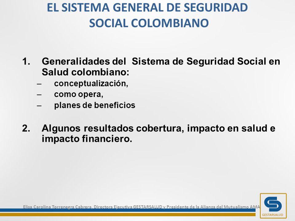 EL SISTEMA GENERAL DE SEGURIDAD SOCIAL COLOMBIANO 1.Generalidades del Sistema de Seguridad Social en Salud colombiano: –conceptualización, –como opera, –planes de beneficios 2.Algunos resultados cobertura, impacto en salud e impacto financiero.