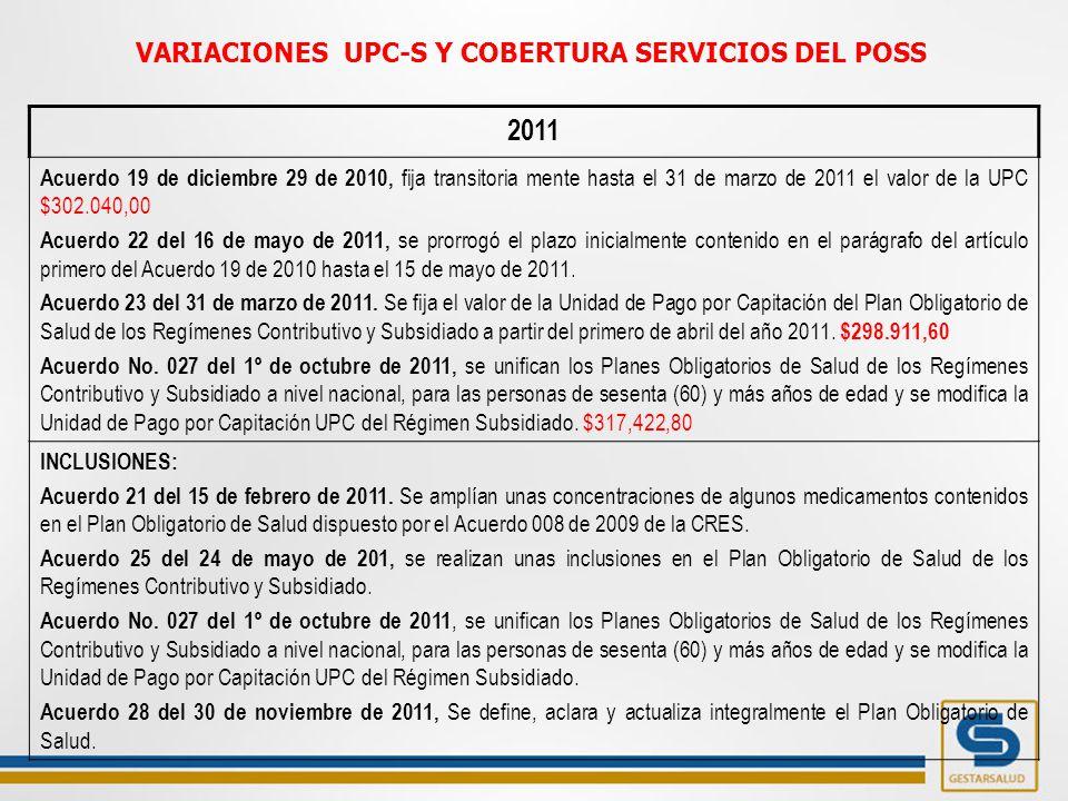 2011 Acuerdo 19 de diciembre 29 de 2010, fija transitoria mente hasta el 31 de marzo de 2011 el valor de la UPC $302.040,00 Acuerdo 22 del 16 de mayo de 2011, se prorrogó el plazo inicialmente contenido en el parágrafo del artículo primero del Acuerdo 19 de 2010 hasta el 15 de mayo de 2011.