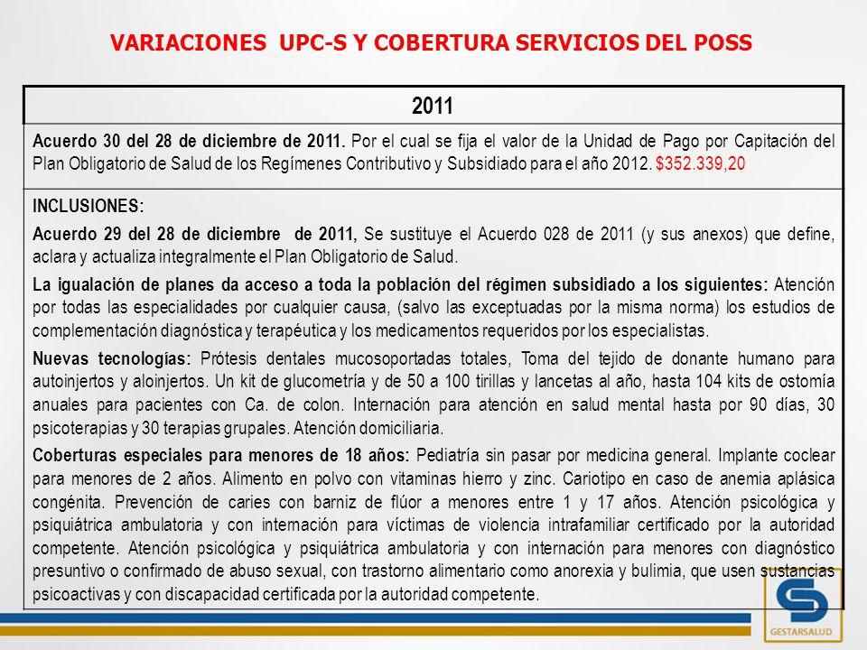 2011 Acuerdo 30 del 28 de diciembre de 2011.
