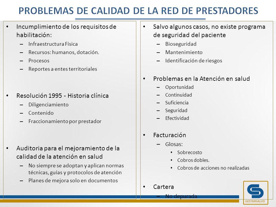 Incumplimiento de los requisitos de habilitación: – Infraestructura Física – Recursos: humanos, dotación.