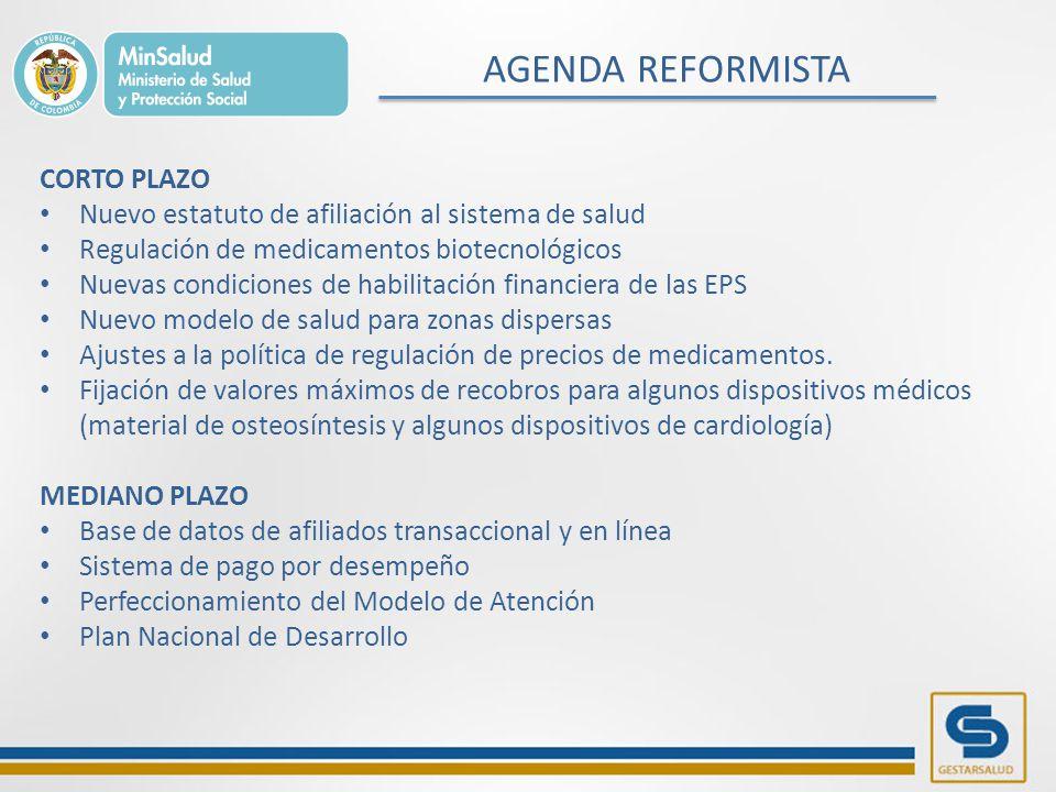 AGENDA REFORMISTA CORTO PLAZO Nuevo estatuto de afiliación al sistema de salud Regulación de medicamentos biotecnológicos Nuevas condiciones de habilitación financiera de las EPS Nuevo modelo de salud para zonas dispersas Ajustes a la política de regulación de precios de medicamentos.