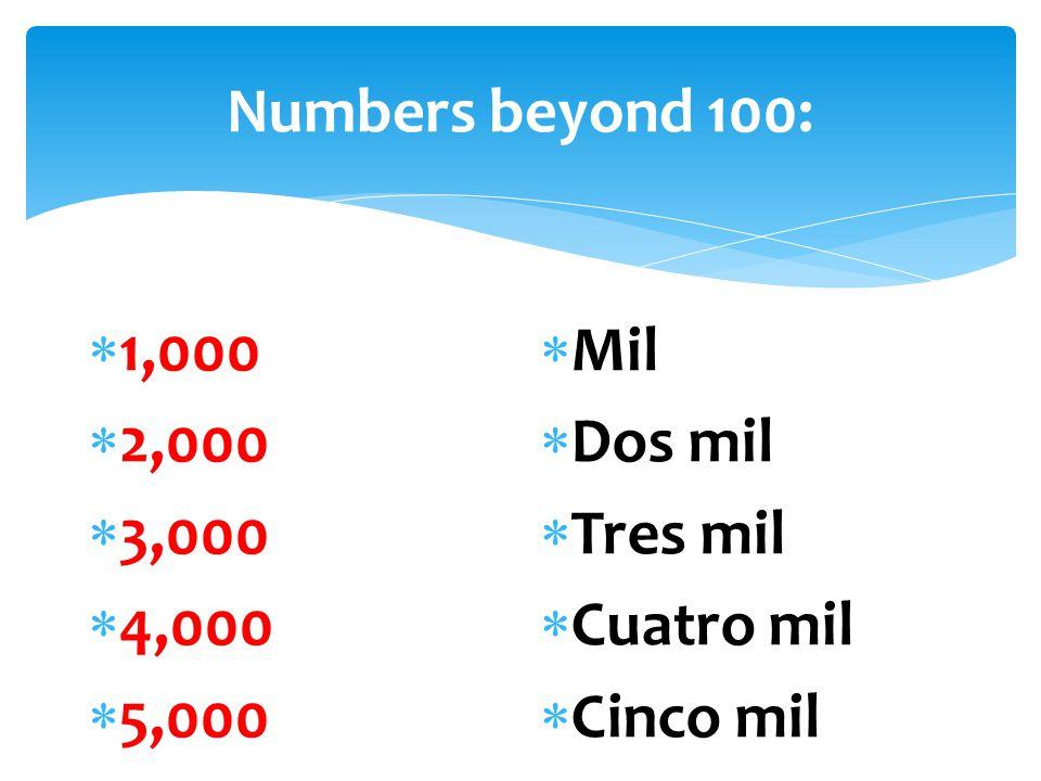 Numbers beyond 100:  1,000  2,000  3,000  4,000  5,000  Mil  Dos mil  Tres mil  Cuatro mil  Cinco mil