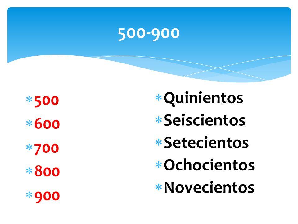 500-900  500  600  700  800  900  Quinientos  Seiscientos  Setecientos  Ochocientos  Novecientos