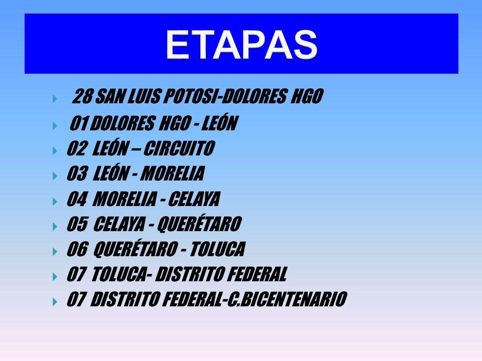  28 SAN LUIS POTOSI-DOLORES HGO  01 DOLORES HGO - LEÓN  02 LEÓN – CIRCUITO  03 LEÓN - MORELIA  04 MORELIA - CELAYA  05 CELAYA - QUERÉTARO  06 QUERÉTARO - TOLUCA  07 TOLUCA- DISTRITO FEDERAL  07 DISTRITO FEDERAL-C.BICENTENARIO ETAPAS