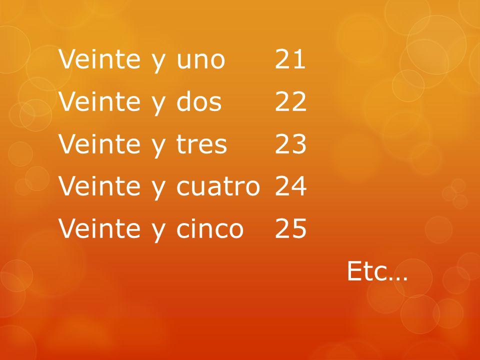 Veinte y uno 21 Veinte y dos22 Veinte y tres23 Veinte y cuatro24 Veinte y cinco25 Etc…