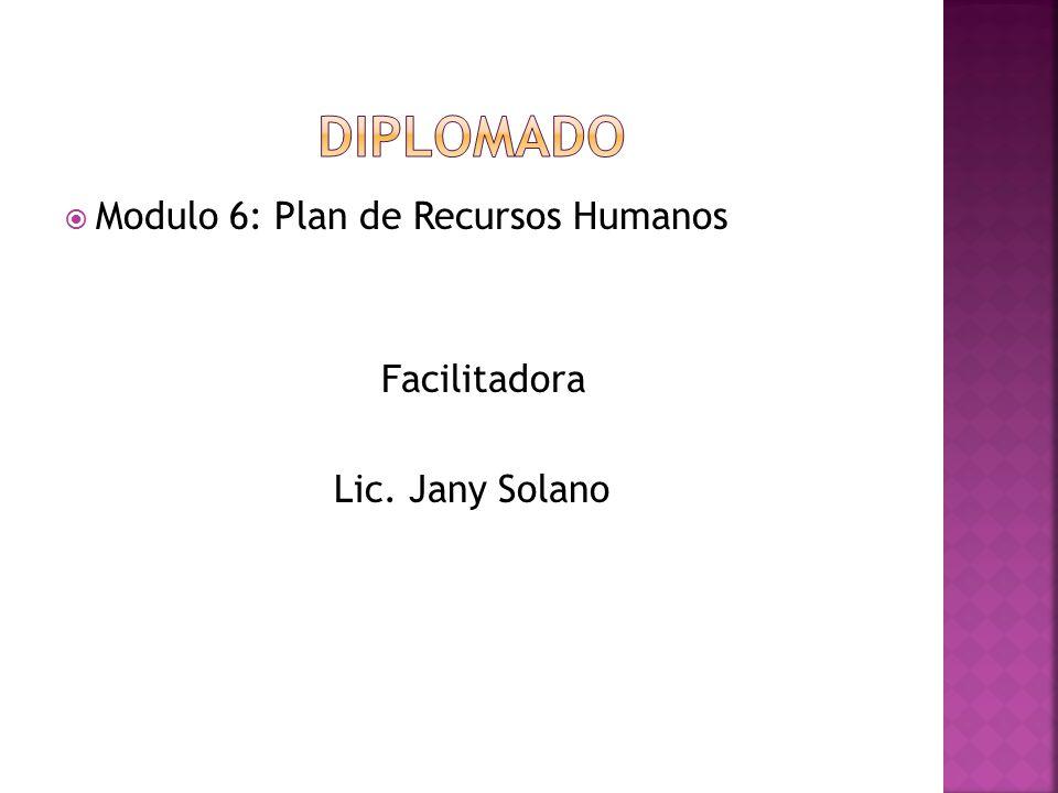  Modulo 6: Plan de Recursos Humanos Facilitadora Lic. Jany Solano