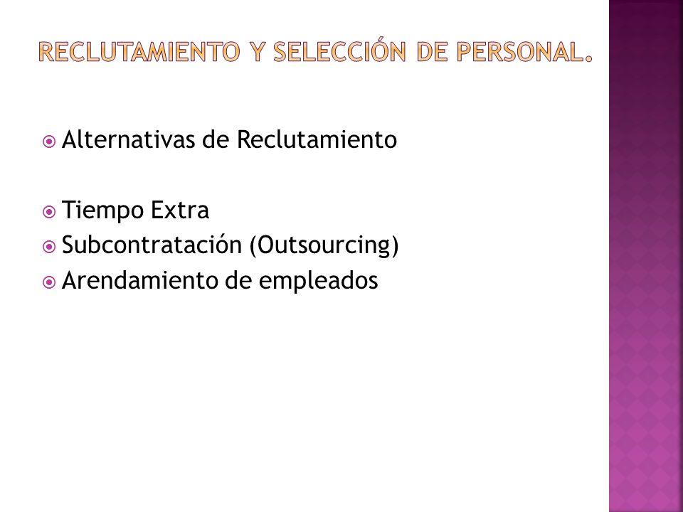  Alternativas de Reclutamiento  Tiempo Extra  Subcontratación (Outsourcing)  Arendamiento de empleados