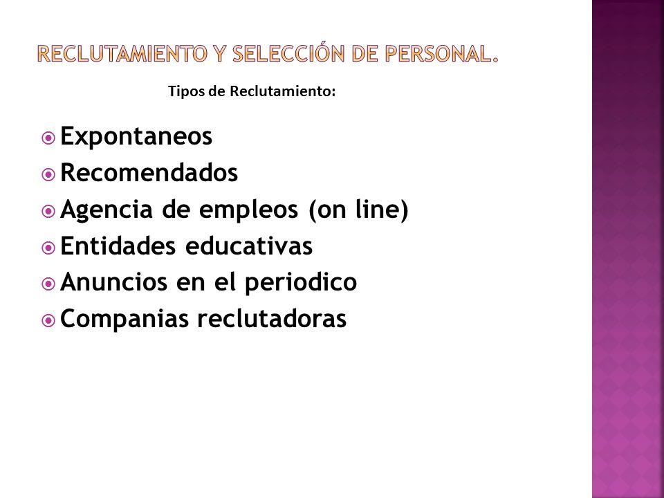  Expontaneos  Recomendados  Agencia de empleos (on line)  Entidades educativas  Anuncios en el periodico  Companias reclutadoras Tipos de Reclutamiento: