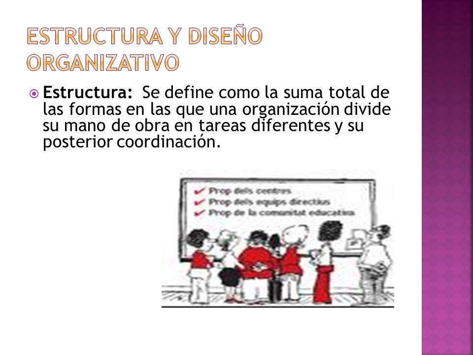  Estructura: Se define como la suma total de las formas en las que una organización divide su mano de obra en tareas diferentes y su posterior coordinación.