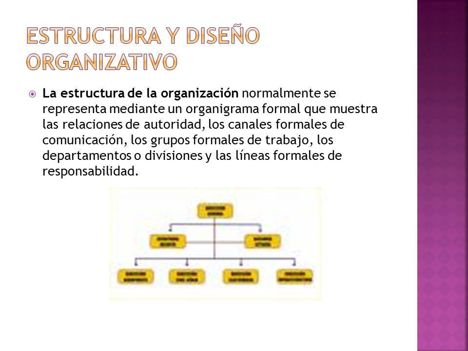  La estructura de la organización normalmente se representa mediante un organigrama formal que muestra las relaciones de autoridad, los canales formales de comunicación, los grupos formales de trabajo, los departamentos o divisiones y las líneas formales de responsabilidad.