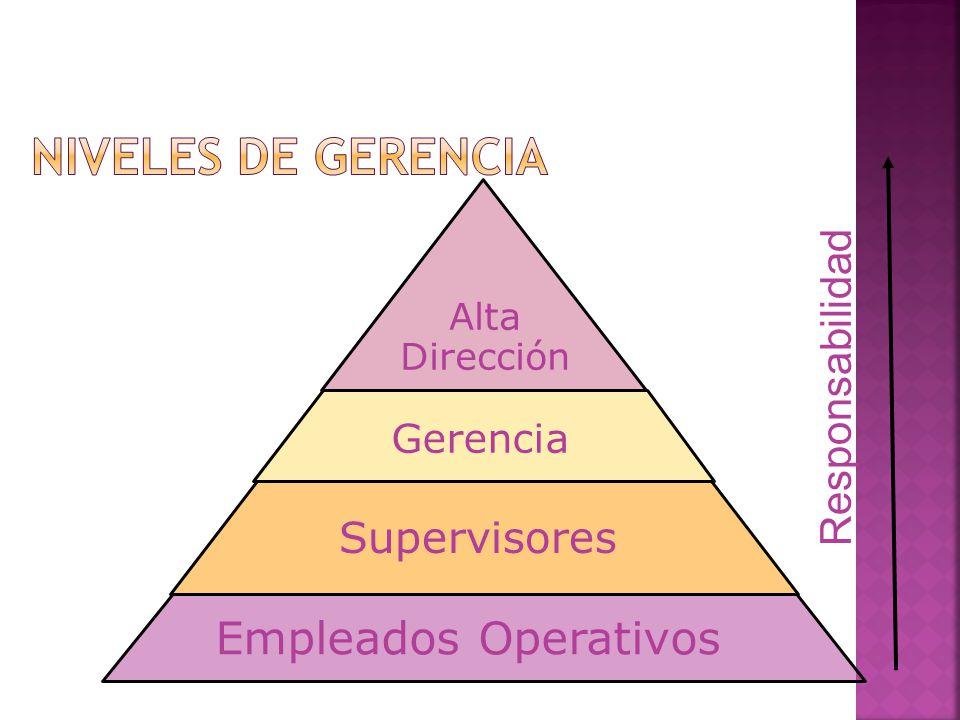 Alta Dirección Gerencia Supervisores Empleados Operativos Responsabilidad