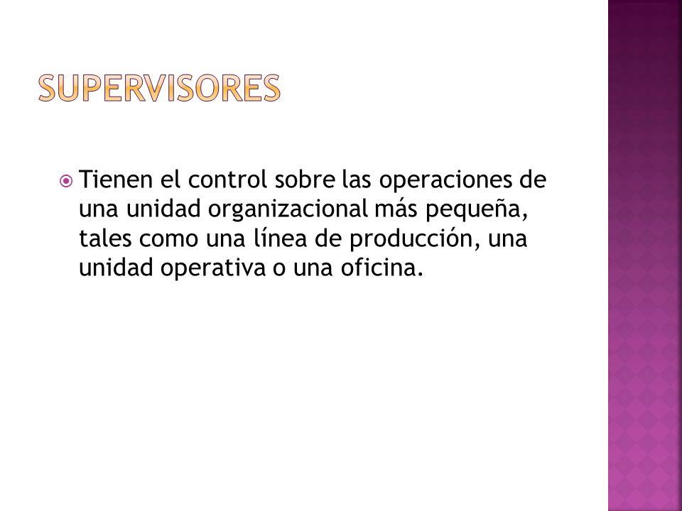  Tienen el control sobre las operaciones de una unidad organizacional más pequeña, tales como una línea de producción, una unidad operativa o una oficina.