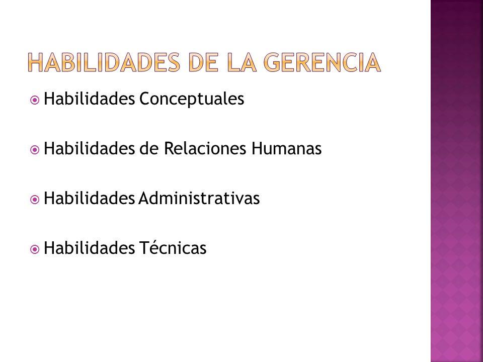  Habilidades Conceptuales  Habilidades de Relaciones Humanas  Habilidades Administrativas  Habilidades Técnicas