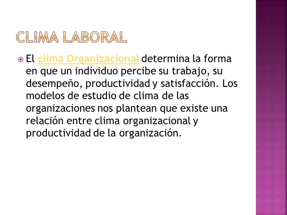  El clima Organizacional determina la forma en que un individuo percibe su trabajo, su desempeño, productividad y satisfacción.
