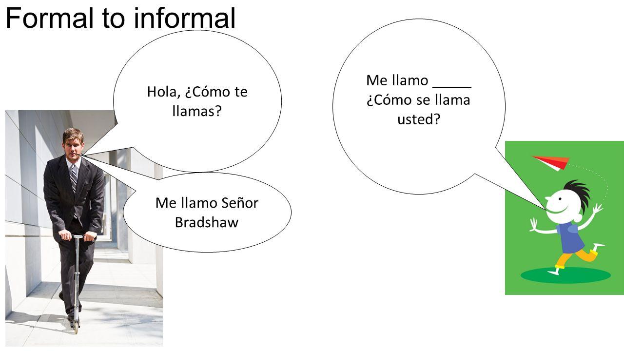 Formal to informal Hola, ¿Cómo te llamas. Me llamo _____ ¿Cómo se llama usted.