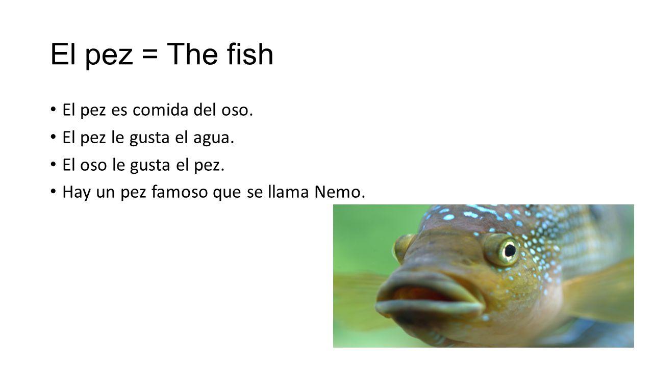 El pez = The fish El pez es comida del oso. El pez le gusta el agua.