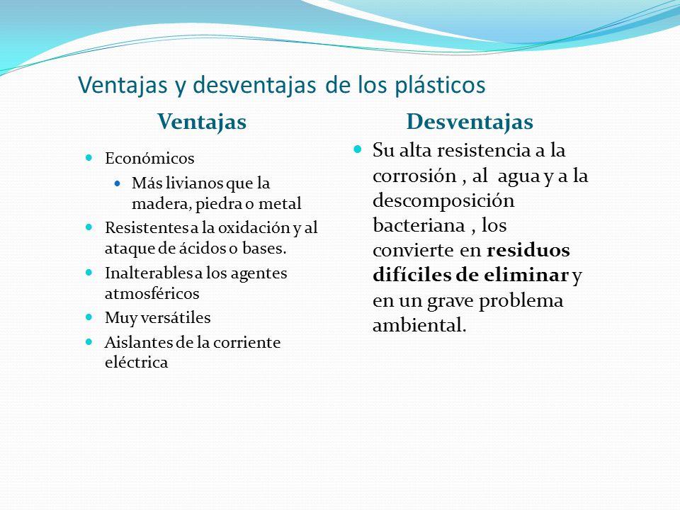 Ventajas y desventajas de los plásticos VentajasDesventajas Económicos Más livianos que la madera, piedra o metal Resistentes a la oxidación y al ataque de ácidos o bases.