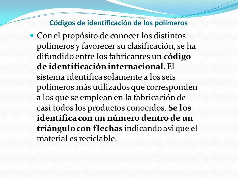 Códigos de identificación de los polímeros Con el propósito de conocer los distintos polímeros y favorecer su clasificación, se ha difundido entre los fabricantes un código de identificación internacional.
