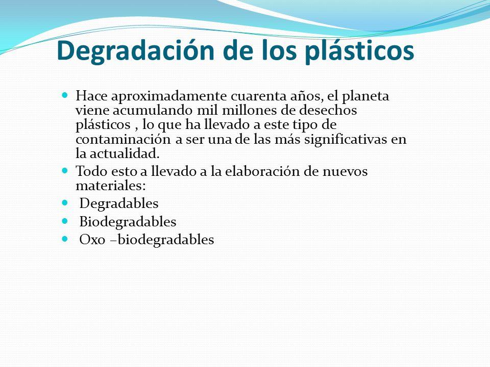 Degradación de los plásticos Hace aproximadamente cuarenta años, el planeta viene acumulando mil millones de desechos plásticos, lo que ha llevado a este tipo de contaminación a ser una de las más significativas en la actualidad.