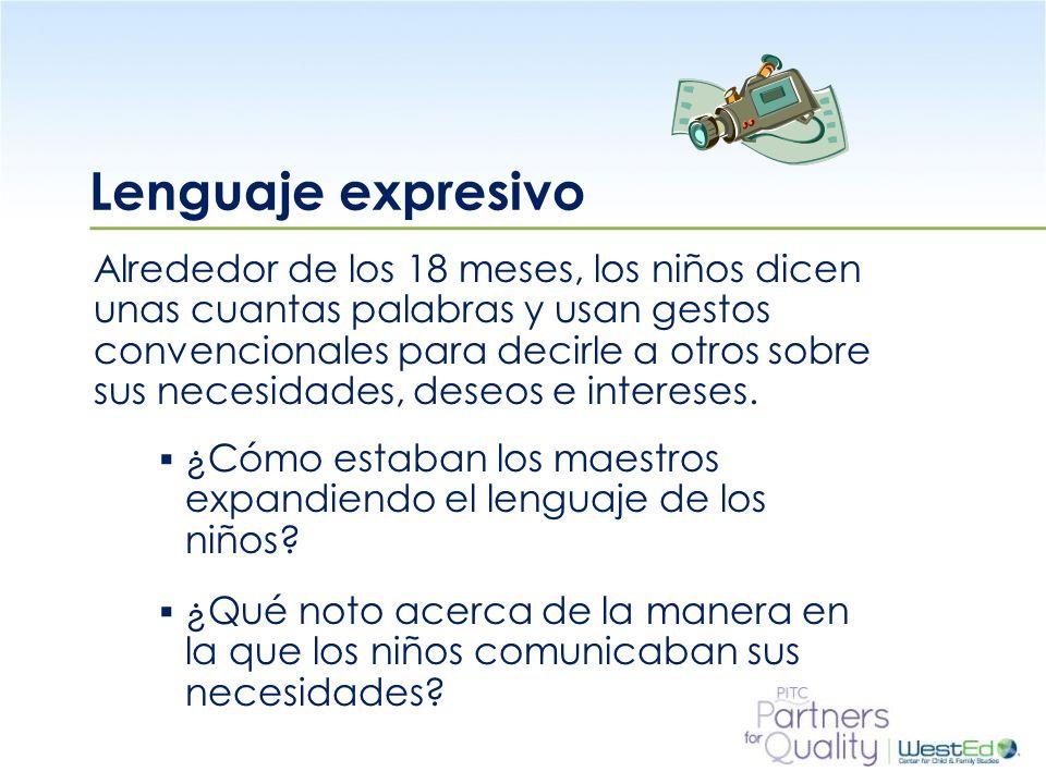 WestEd.org Lenguaje expresivo Alrededor de los 18 meses, los niños dicen unas cuantas palabras y usan gestos convencionales para decirle a otros sobre sus necesidades, deseos e intereses.