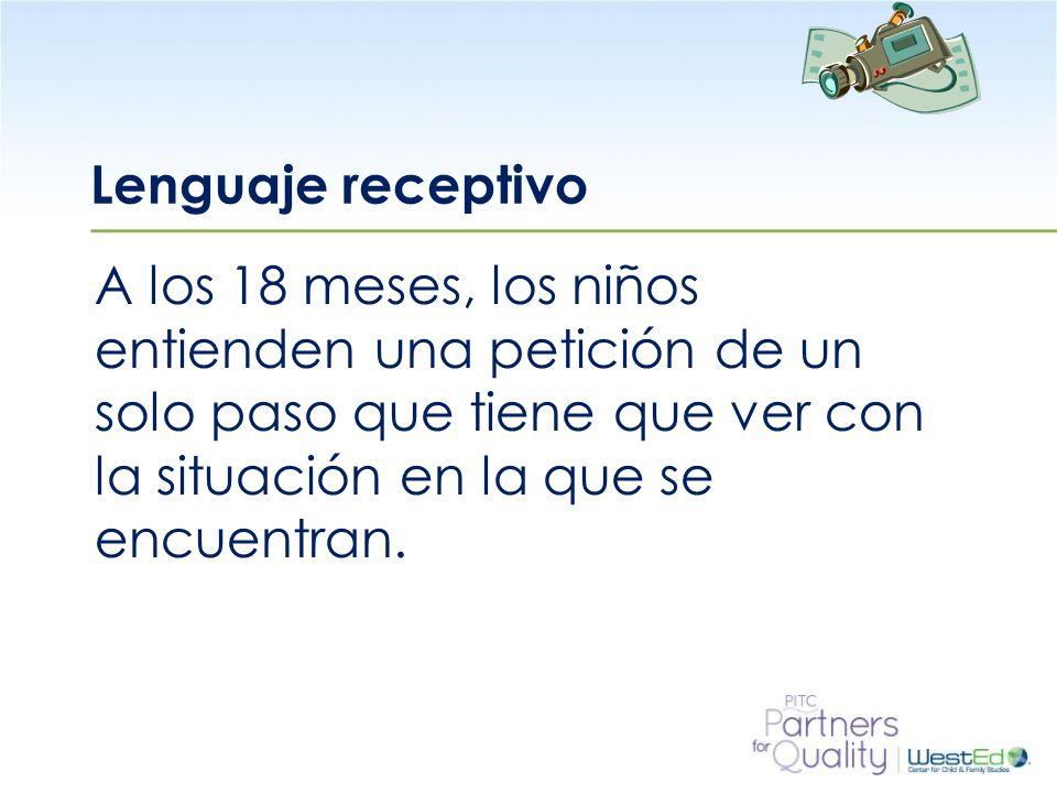 WestEd.org Lenguaje receptivo A los 18 meses, los niños entienden una petición de un solo paso que tiene que ver con la situación en la que se encuentran.