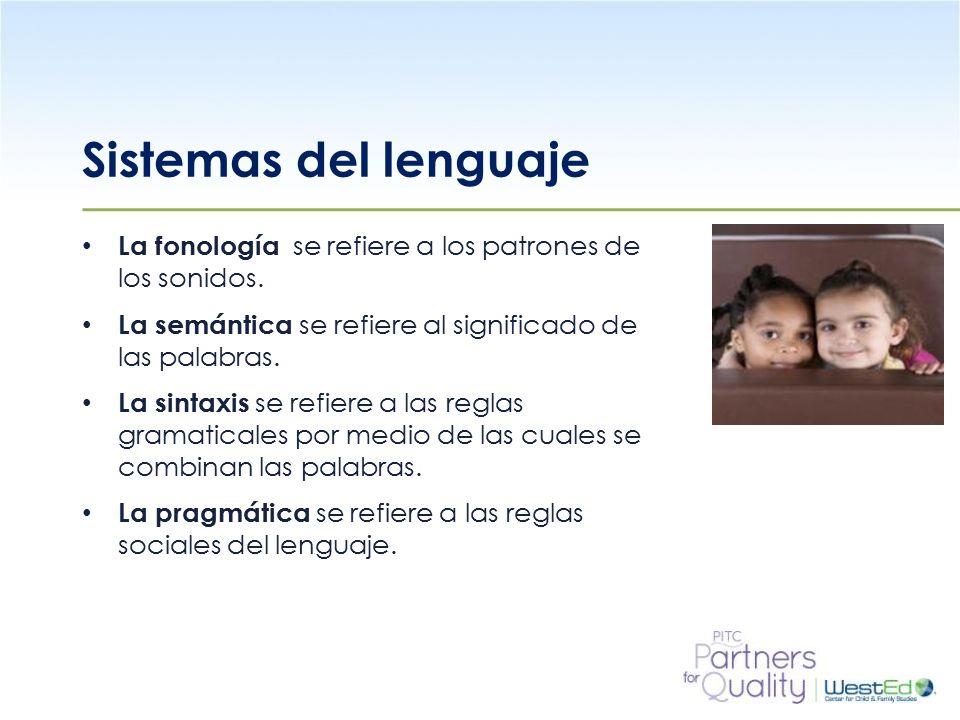 WestEd.org Sistemas del lenguaje La fonología se refiere a los patrones de los sonidos.
