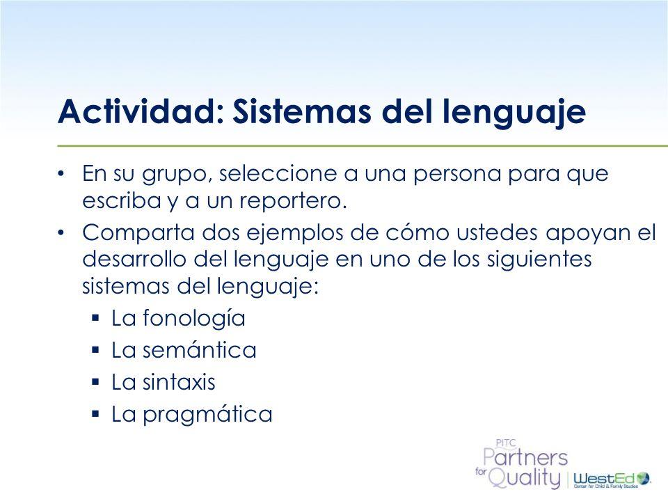 WestEd.org Actividad: Sistemas del lenguaje En su grupo, seleccione a una persona para que escriba y a un reportero.