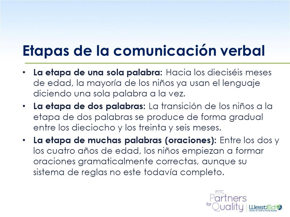 WestEd.org Etapas de la comunicación verbal La etapa de una sola palabra: Hacia los dieciséis meses de edad, la mayoría de los niños ya usan el lenguaje diciendo una sola palabra a la vez.