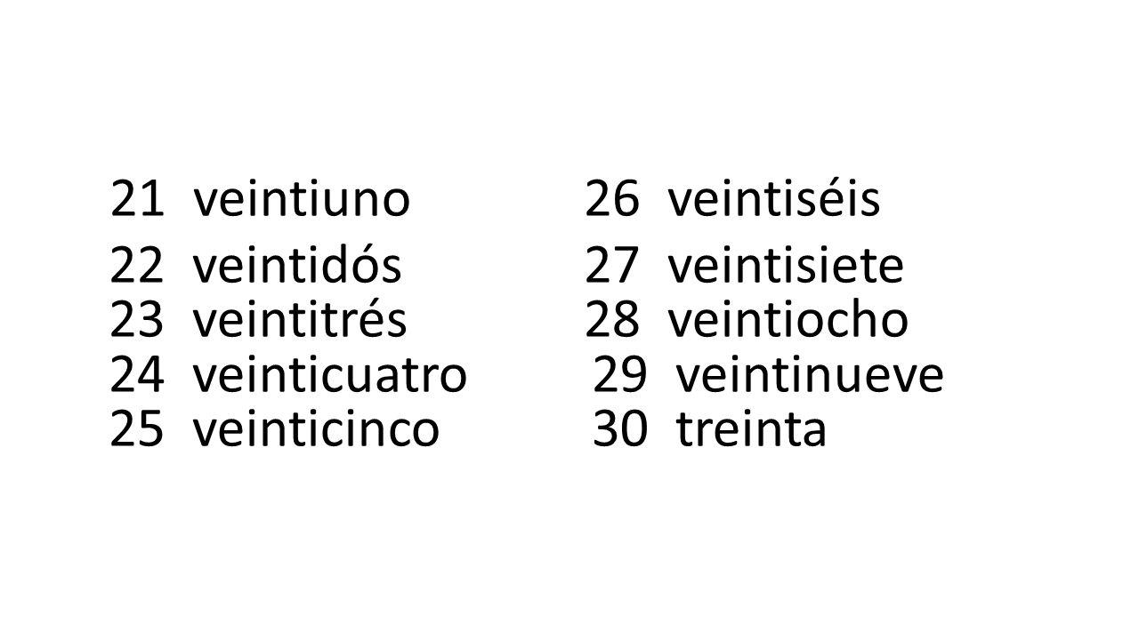 21 veintiuno 26 veintiséis 22 veintidós 27 veintisiete 23 veintitrés 28 veintiocho 24 veinticuatro 29 veintinueve 25 veinticinco 30 treinta
