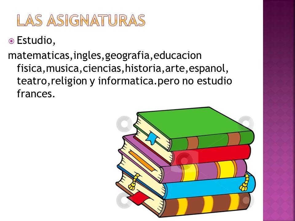  Estudio, matematicas,ingles,geografia,educacion fisica,musica,ciencias,historia,arte,espanol, teatro,religion y informatica.pero no estudio frances.