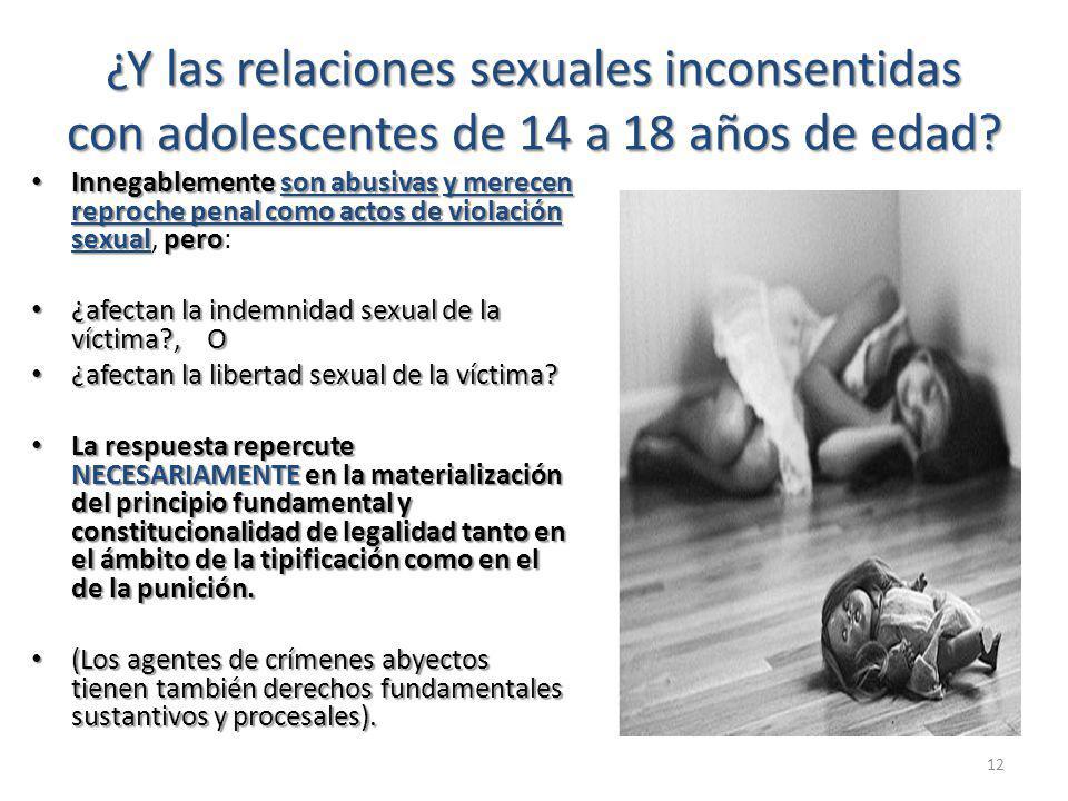 ¿Y las relaciones sexuales inconsentidas con adolescentes de 14 a 18 años de edad.