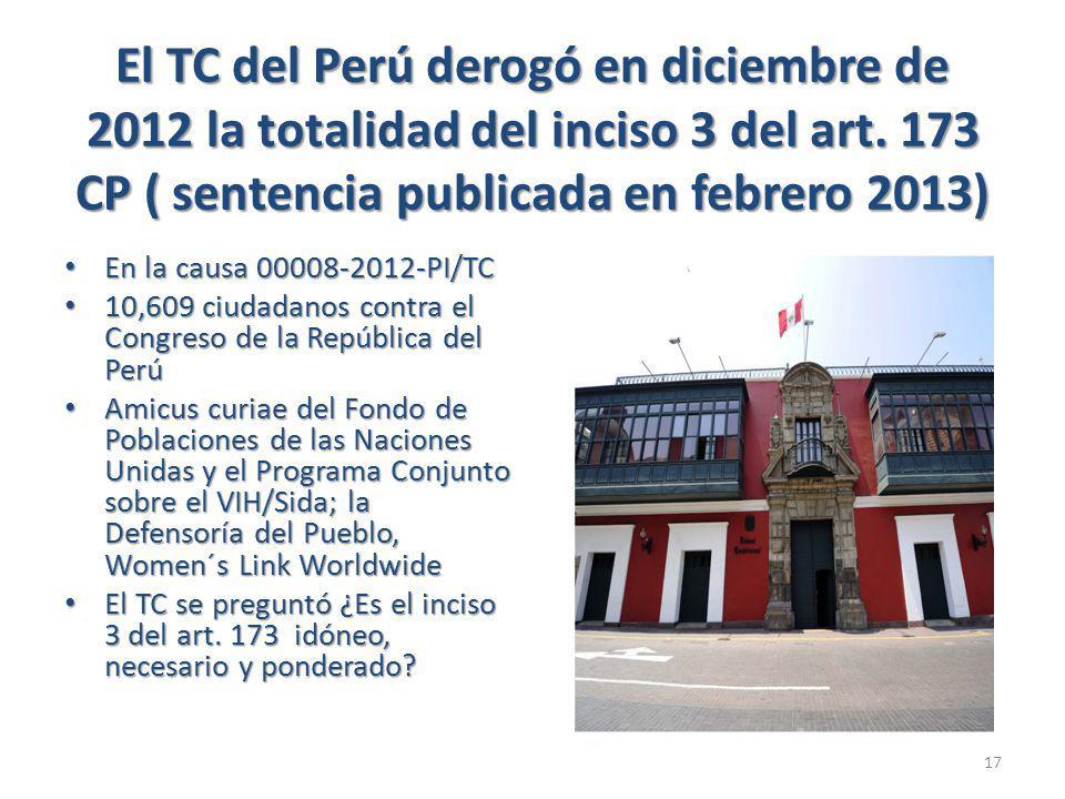 El TC del Perú derogó en diciembre de 2012 la totalidad del inciso 3 del art.