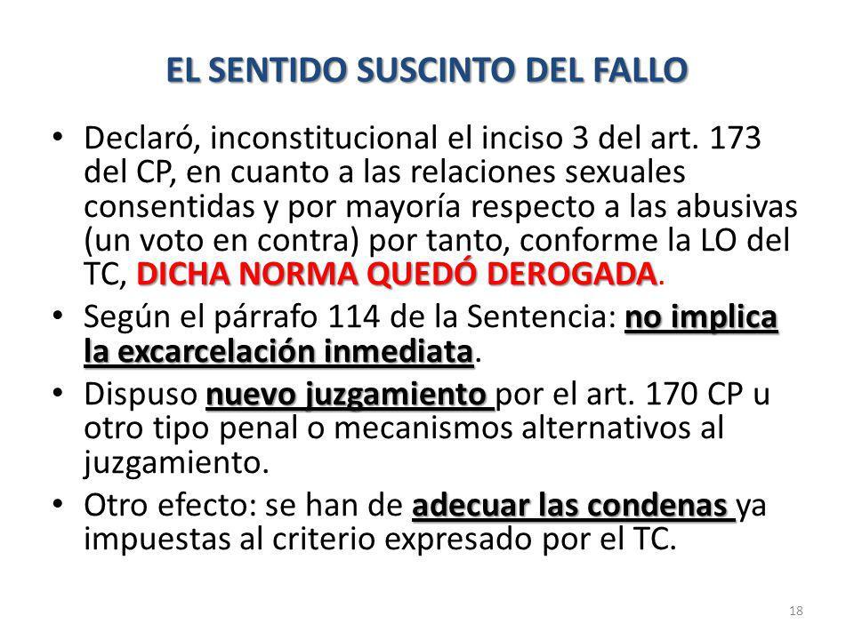 EL SENTIDO SUSCINTO DEL FALLO DICHA NORMA QUEDÓ DEROGADA Declaró, inconstitucional el inciso 3 del art.
