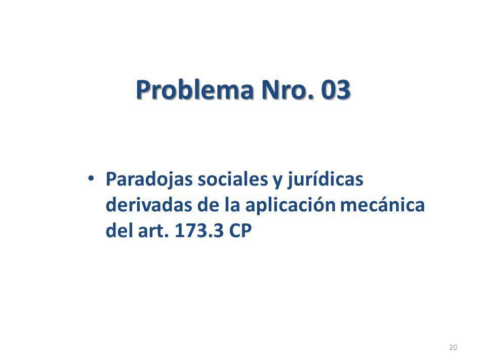 Problema Nro. 03 Paradojas sociales y jurídicas derivadas de la aplicación mecánica del art.