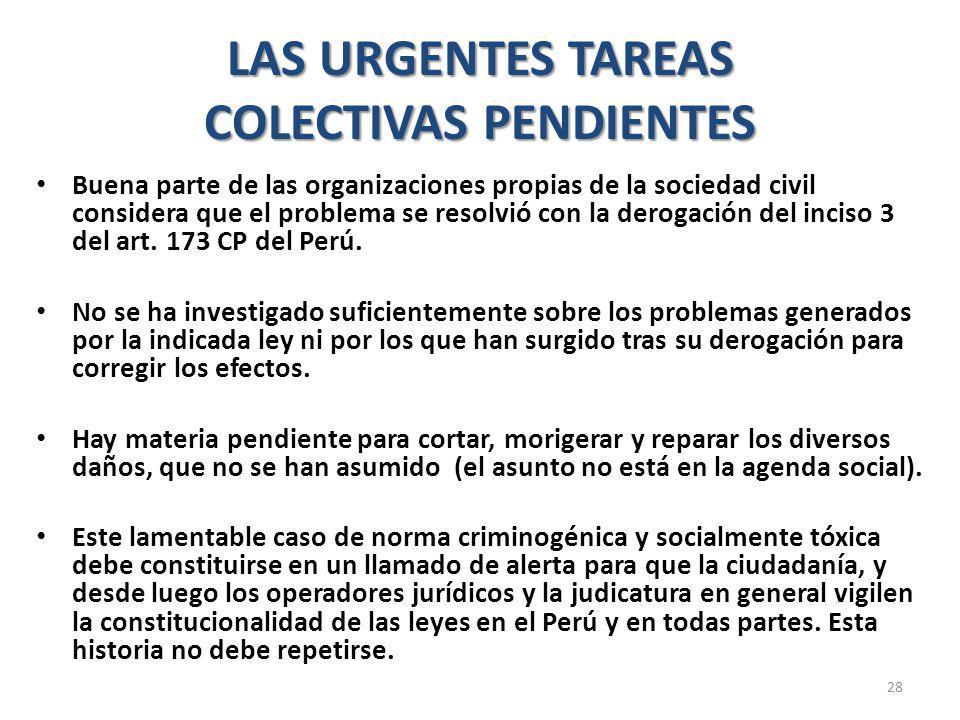 LAS URGENTES TAREAS COLECTIVAS PENDIENTES Buena parte de las organizaciones propias de la sociedad civil considera que el problema se resolvió con la derogación del inciso 3 del art.