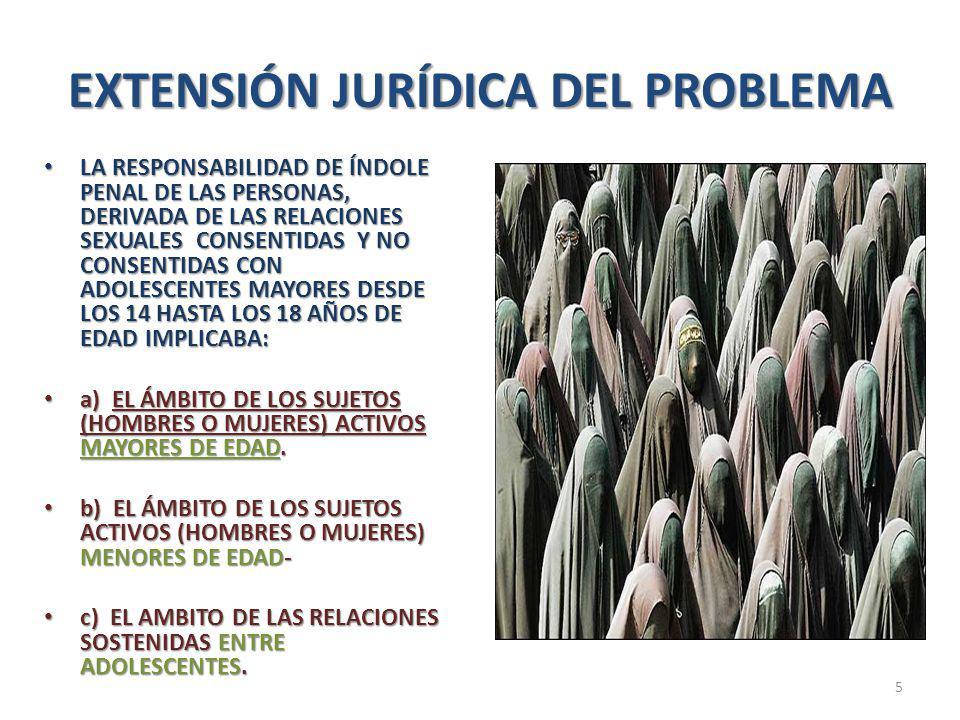 EXTENSIÓN JURÍDICA DEL PROBLEMA LA RESPONSABILIDAD DE ÍNDOLE PENAL DE LAS PERSONAS, DERIVADA DE LAS RELACIONES SEXUALES CONSENTIDAS Y NO CONSENTIDAS CON ADOLESCENTES MAYORES DESDE LOS 14 HASTA LOS 18 AÑOS DE EDAD IMPLICABA: LA RESPONSABILIDAD DE ÍNDOLE PENAL DE LAS PERSONAS, DERIVADA DE LAS RELACIONES SEXUALES CONSENTIDAS Y NO CONSENTIDAS CON ADOLESCENTES MAYORES DESDE LOS 14 HASTA LOS 18 AÑOS DE EDAD IMPLICABA: a) EL ÁMBITO DE LOS SUJETOS (HOMBRES O MUJERES) ACTIVOS MAYORES DE EDAD.