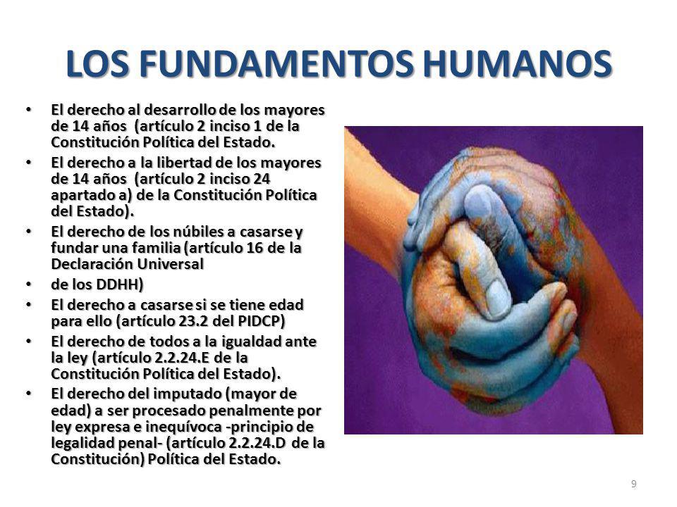LOS FUNDAMENTOS HUMANOS El derecho al desarrollo de los mayores de 14 años (artículo 2 inciso 1 de la Constitución Política del Estado.